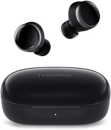 [2021 Upgraded] True Wireless Earbuds, TANGMAI W0 Bluetooth 5.0 Headphones with Microphones, 30H Playtime, Deep Bass, IPX7 Waterproof for Sports, Earphones with Clear Calls for Home/Office -Black