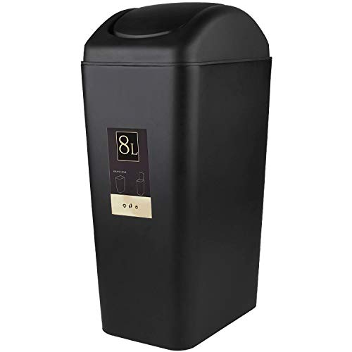 (CBTONE 8 Liter / 2 Gallon Plastic Trash Can with Lid, Black Small Garbage Can Waste Can for Office, Bathroom, Bedroom)
