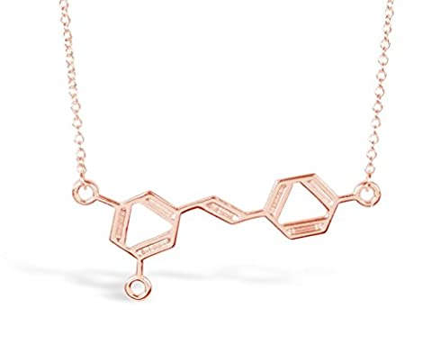 "Rosa Vila Wine Molecule Necklace, Wine Lover Gifts for Women, Chic Geeky Jewelry, For Wine Lovers, Makers, and Enthusiasts, 19"" Chain (Rose Gold (Rose Gold Tone Chain)"