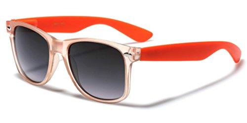 Retro 80s Fashion Slim Sunglasses with Matte Clear Frame Orange