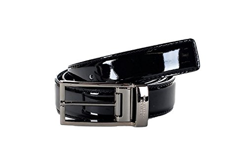 Versace Patent Leather - Versace Collection Men's Patent Leather Belt With Silver Buckle V910225