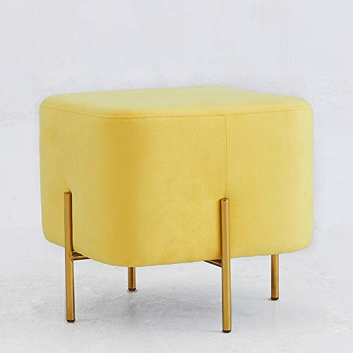 Funlea Luxury Soft Sofa Stool Nordic Household Adults Makeup Stools Chair Creative Velvet Fabric Low Pouffe Footstool Gold-Plated Stainless Steel Clothing Store Change Shoes Bench (Color : Yellow) ()
