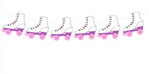 Roller Skate WHITE Garland, Roller Skate Banner, 80's Birthday Decorations, 80's Party Supplies
