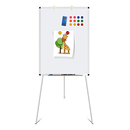 Dry Erase Board, Magnetic Whiteboard with Tripod Stand, Adjustable Height, Lightweight Easel Whiteboard with 1 Eraser, 12 ()