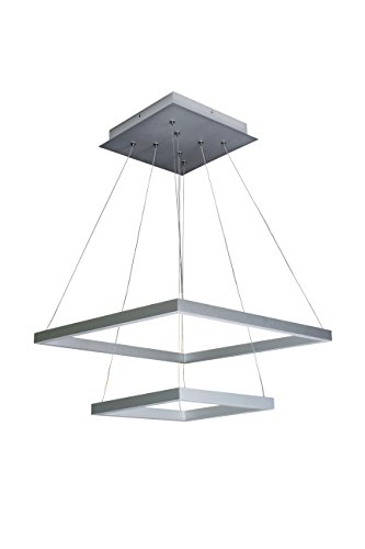 VONN VMC31720AL Modern Two-Tier Square LED Chandelier Lighting with Adjustable Hanging Light, 19.69″ x 19.69″ x 11.81″, Silver