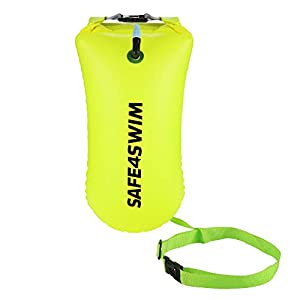 SAFE4SWIM Swim Buoy for Open Water Swimming – Be Bright, Be Seen & Be Safer with Adjustable Swim Bubble Waist Belt, 15L