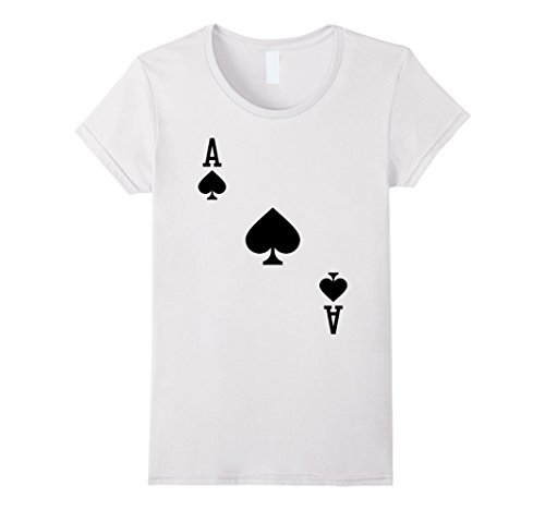A Deck Of Cards Costume - Womens Ace of Spades Costume T-Shirt Halloween Deck of Cards Medium White