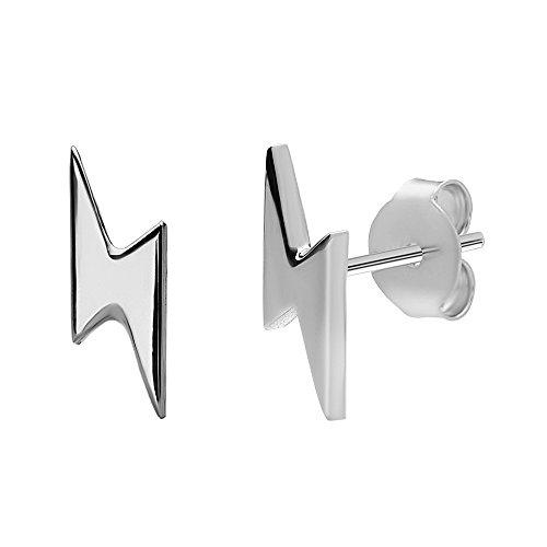 Lightning Bolt Stud Earrings in 925 Sterling Silver by Silver Phantom Jewelry