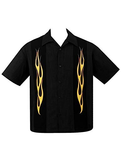 Hot Button Up In Black,Orange Bowling Shirt Rat Rod Retro (L) ()