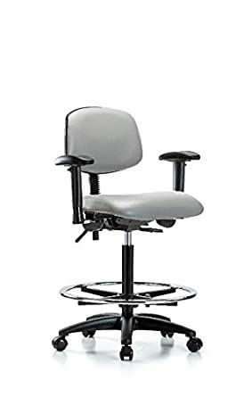 Black Casters LabTech Seating LT44943 High Bench Chair Arms Nylon Base Vinyl Chrome Foot Ring