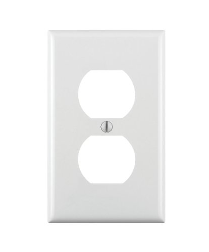 Leviton 80703-W 1-Gang Duplex Device Receptacle Wallplate, Standard Size, Thermoplastic Nylon, Device Mount, White (Plastic Wall Plate Outlet)