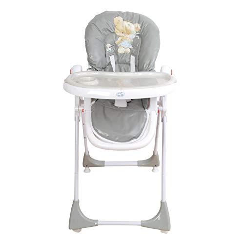 Trona para bebé regulable, doble bandeja, modelo osito gris, silla bebé. Trona para niños. De regalo manta de actividades silla bebé. Trona para niños. De regalo manta de actividades TORAL BEBE SL