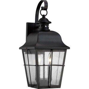 Quoizel MHE8409K Two Light Outdoor Wall Lantern Pendant, Medium, Mystic Black ()