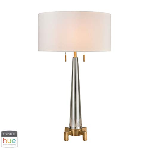 - AR Lighting Bedford Solid Crystal Table Lamp in Aged Brass - with Philips Hue LED Bulb/Bridge