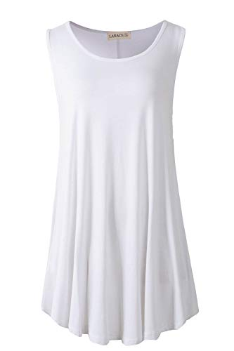 Rayon Dry Clean Only - LARACE Women Solid Sleeveless Tunic for Leggings Swing Flare Tank Tops (4X, White)
