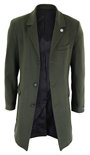 Homme Slim Effet Peaky Blinders 3 Coupe Olive Veste Style Manteau Laine Longueur 4 dqCxawd8Rn