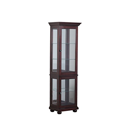 Powell Chadwick Collection 15A7035 22'' Small Curio with Mirrored Back Three Glass Shelves Bun Feet and Recessed Lighting in by Powell