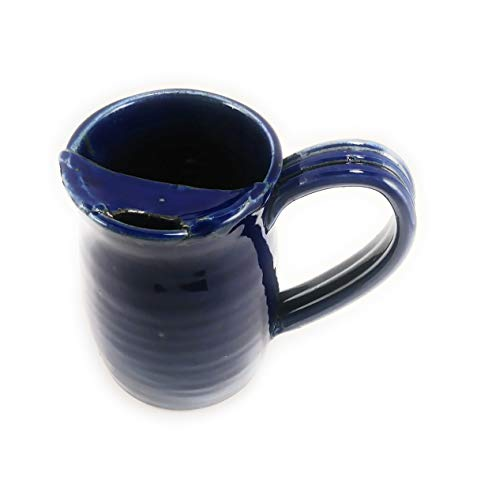 Moustache Cup (Aunt Chris' Pottery - Hand Made Clay - Right Handed Large Drinking Mug (Cup) With Mustache Guard - Navy Blue Glazed - Mug With Comfortable Loop Handle)
