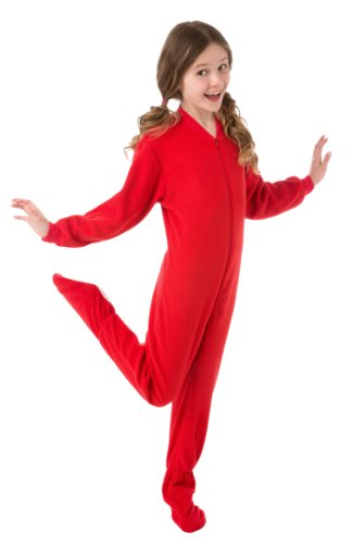 Amazon.com: Big Feet PJs Big Boys Kids Red Fleece Footed Pajamas ...