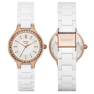 - DKNY Chambers White Ceramic and Rose Gold-Tone Stainless Steel Women's watch #NY2251