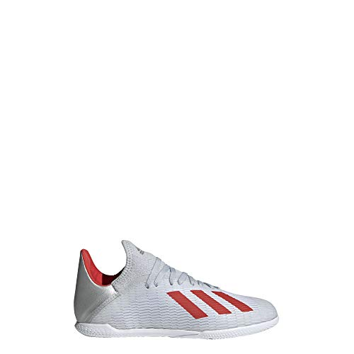 adidas Unisex X 19.3 Indoor Soccer Shoe, Silver Metallic/hi-res red/White, 5.5 M US Big Kid