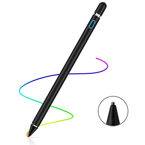 Stylus Pen for Touch Screens Rechargeable 1.5mm Fine Point Active Stylus Pen Smart Pencil Digital Compatible iPad and Most Tablet (Black)