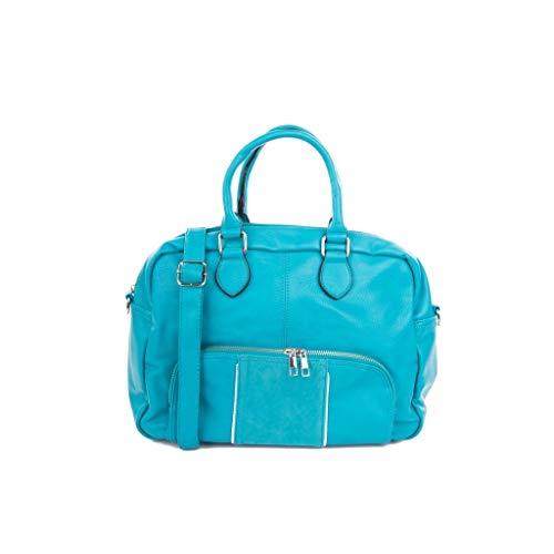 Elegante Práctico Básica Por Brillantes De Idea Día Bag Regalo Mano Tote Mujer Bolsa Ordenador Moda Angkorly Bimaterial Cabas Azul Cómodo Satchel Shopper Cada 7vqU5nx6