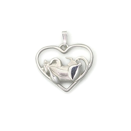 Sterling Silver Whimsical Cat (Sterling Silver Cat Pendant, Silver Cat Necklace fr Donna Pizarro's Animal Whimsey Collection of Fine Cat Jewelry)