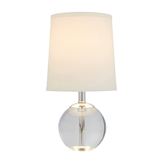 Stone & Beam Modern Round Glass Table Desk Lamp With Light Bulb And White Shade - 7 x 7 x 14 Inches - This beautiful lamp will add grace and style anywhere you place it. A round crystal glass base is combined with polished nickel hardware and a classic white linen shade. This lamp will blend with any style while adding LED light to your room. Modern with classic touches Crystal glass body with metal hardware and linen shade - lamps, bedroom-decor, bedroom - 31e UgV0w3L. SS570  -