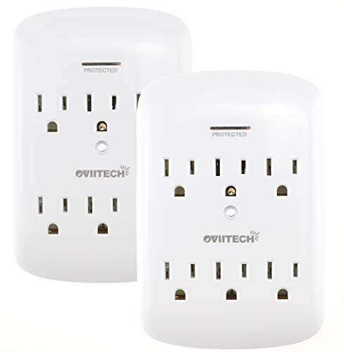 6-Outlet Plug Surge Protector Wall Mount Adapter, 1200 Joules ,OviiTech Socket Outlets Adapter,White,2 Pack