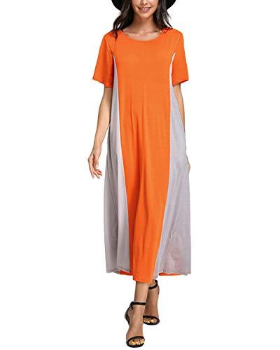 - Celmia Women's Casual Double Color Short Sleeve Colorblock Baggy Long Maxi Dress Orange&Grey L
