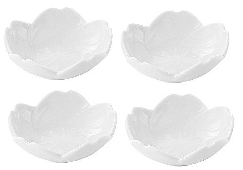 (4pcs Ceramic Flower Shape Sauce Dish Seasoning Dishes Sushi Dipping Bowl Appetizer Plates Serving Dish Saucers Bowl)