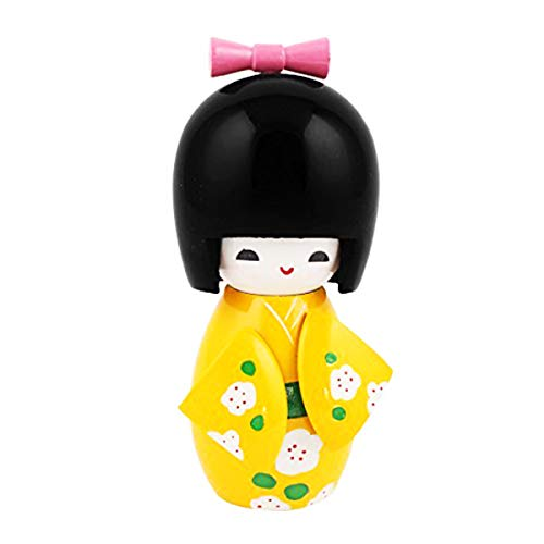 """COMOK Yellow Japanese Floral Kimono Sweet Smiling Girl Wooden Kokeshi Doll Toy for House & Office Decoration Handicraft Ornaments, 3.7"""" x 1.46"""""""