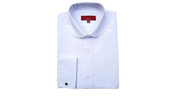 Camisa de hombre con cuello redondo y doble puño ajustado ...