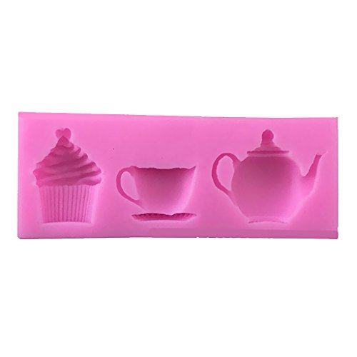 Jili Online 3D Afternoon Teapot Cup Shape Cake Mold Baking Mould Decorating Chocolate Pies Soap Mat
