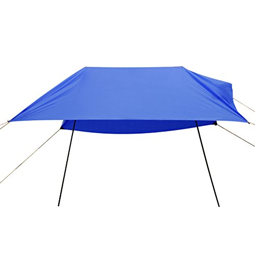 Domary Hammock Rain Fly Tent Tarp, Anti UV Beach Tent Sun Shelters, Portable Canopy Sunshade with Steel Poles & Carrying Bag for Outdoor Camping/Beach/Travel- 9.8 x 9.8Ft