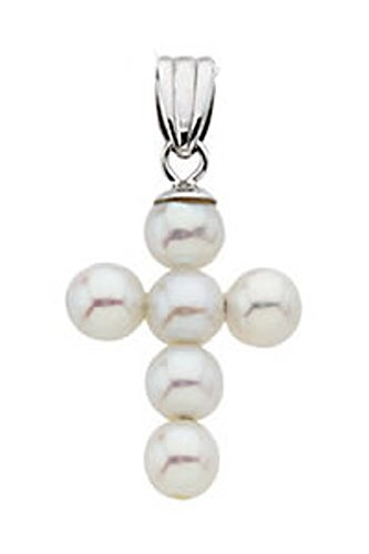New 14k White Gold Freshwater Cultured Pearl Cross Pendant