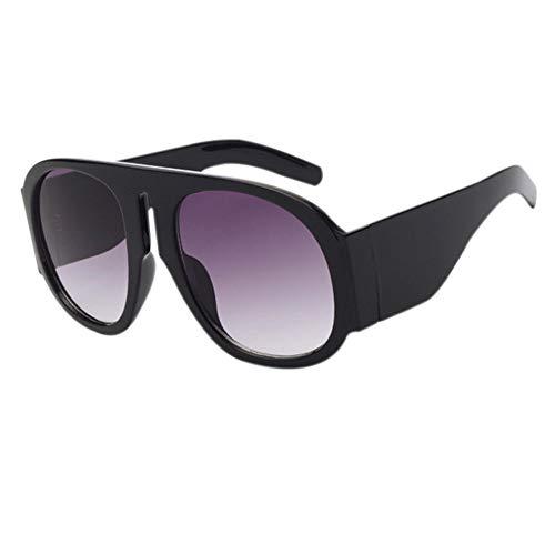 Doble Hzjundasi de redondas de de sol Protección Negro de Diseñador gran ovaladas tamaño negras gafas elegante gafas gafas conducción Gris UV400 verano qRwrq