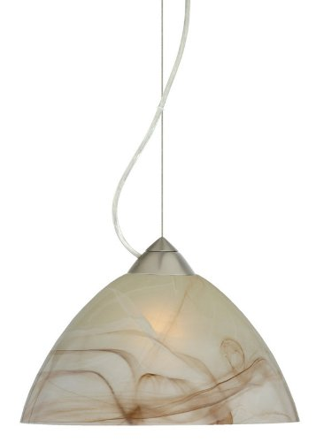 Besa Lighting 1KX-420183-LED-SN 1X6W GU24 Tessa LED Pendant with Mocha Glass, Satin Nickel Finish