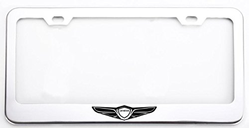 Deselen Stainless Steel License Plate Frame for Genesis with Screw Caps Cover Set, Genesis Logo,Silvery White/Chrome (2 Pieces Front/Back) LP-GE01WP -