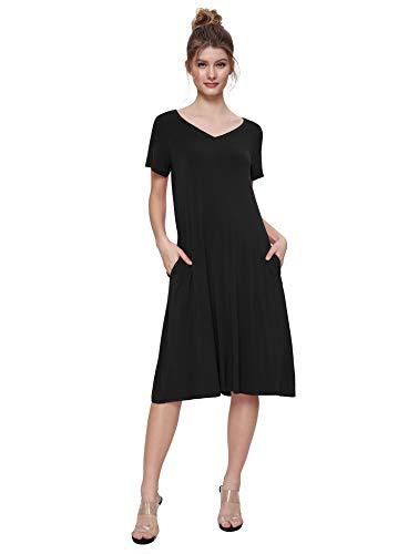 Weintee Women's T-Shirt Dress V-Neck Casual Dress with Pockets M Black