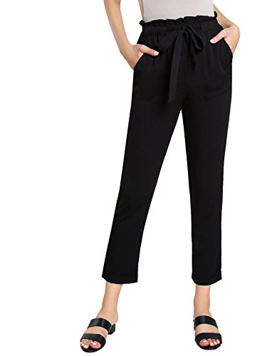 (SweatyRocks Women's Elastic Belted High Waist Casual Loose Long Pants with Pocket Black L)