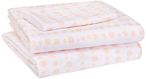 AmazonBasics Kid's Sheet Set - Soft, Easy-Wash Microfiber - Twin, Pink Dotted Stripes (Stripe Twin Pack)