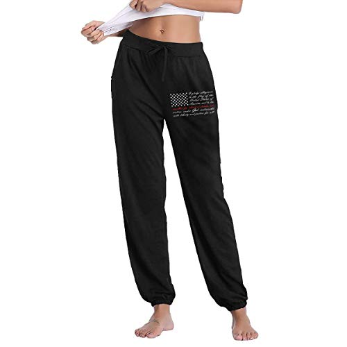 Thin Red Line Maltese Cross Firefighter Women's Joggers Sweatpants Cotton Long Pants with Pockets