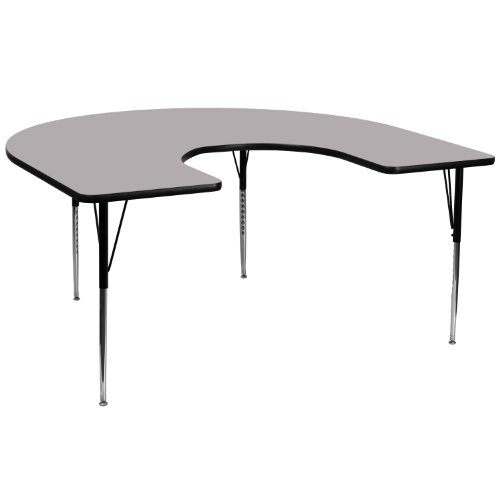 Flash Furniture 60''W x 66''L Horseshoe Grey Thermal Laminate Activity Table - Standard Height Adjustable Legs