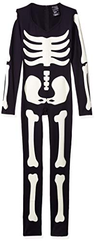 Last Minute Simple Halloween Costumes For Adults (Leg Avenue Women's Glow in The Dark Skeleton Halloween Costume, Black/White,)