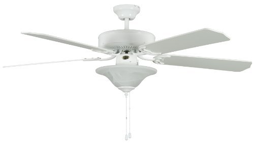 Concord Fans 52HES5EWH 52 Inch Heritage Sq Ceiling Fan with Bowl Lt - White (Concord Bowls Glass)