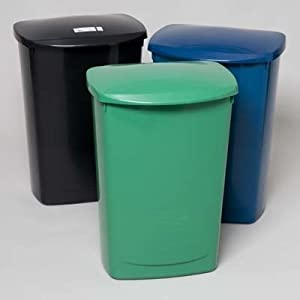 trash can tall kitchen 13 gallon with lid 3 colors case pack of 6 home kitchen. Black Bedroom Furniture Sets. Home Design Ideas