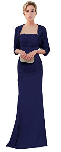 VaniaDress Women Long Mother of The Bride Dress with Jacket Formal Gowns V263LF Royal Blue US16 from Vania Dress