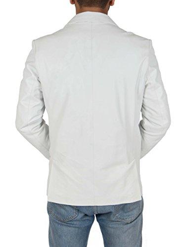 bot Gentlemens Cuello cuero de Chaqueta de doble Blazer blanco de wTxSH1qHOZ